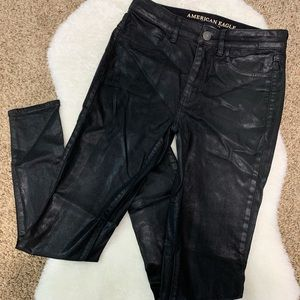 AE Faux Leather/ Metallic Jeggings